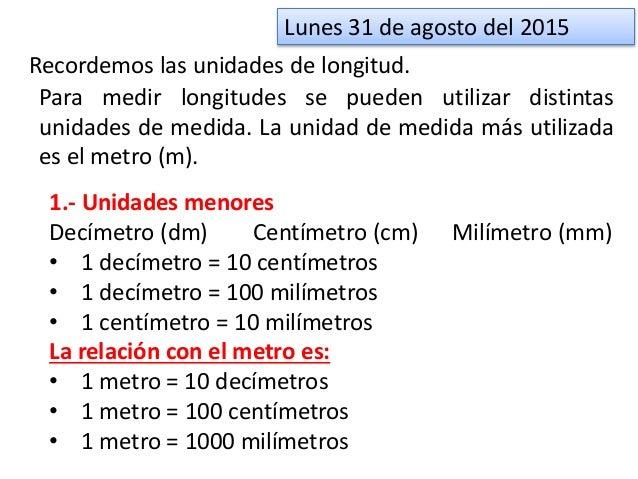 Recordemos las unidades de longitud. Para medir longitudes se pueden utilizar distintas unidades de medida. La unidad de m...