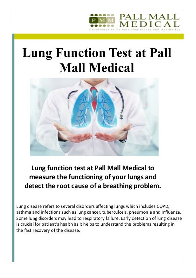Lung Function Test At Pall Mall Medical