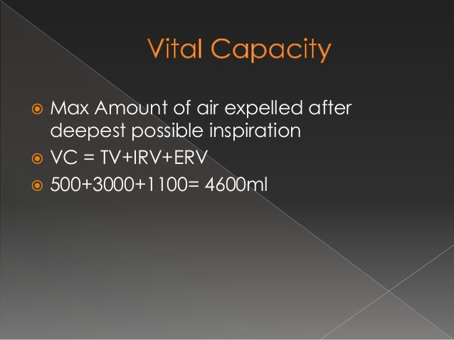  Timed vital capacity or FVC  FVC is volume of the air that can be expired rapidly with max force following a max inspir...