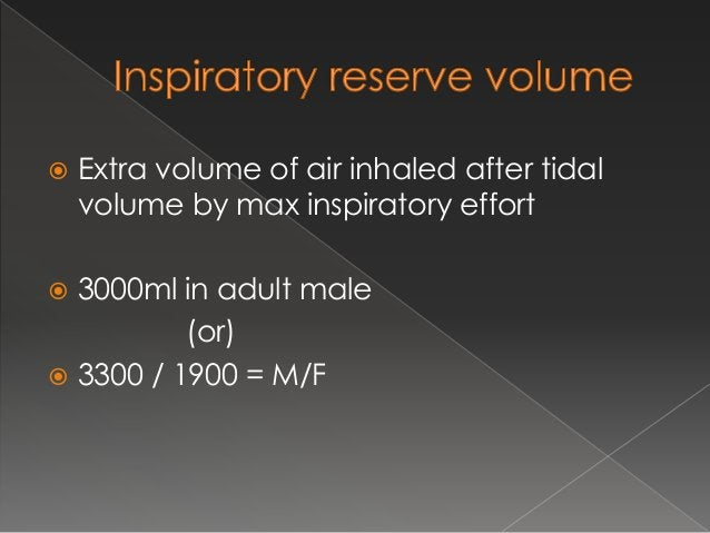  Volume of the air left out in lungs after forceful expiration or complete expiration  1200/1100 = M/F