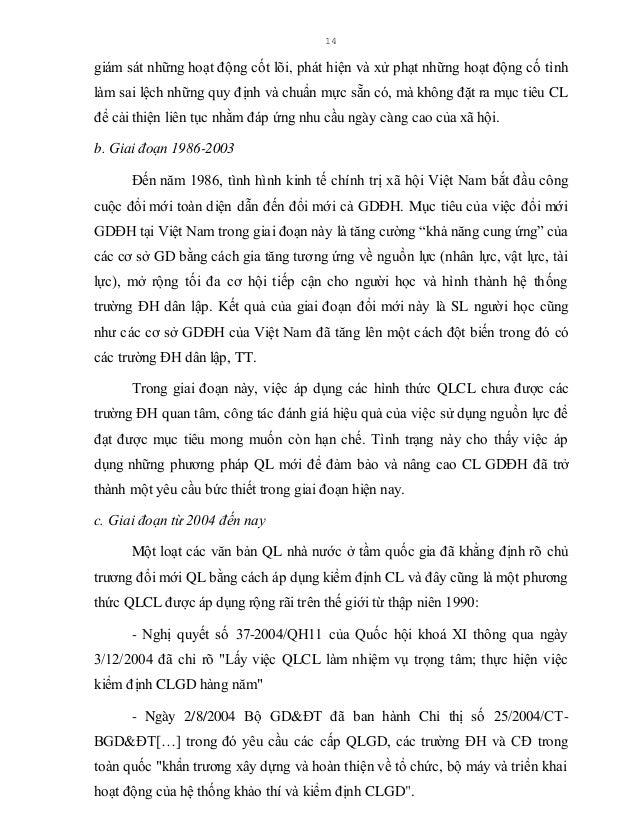 15 - Ngày 2/12/2004 Bộ GDĐT đã ký Quyết định số 38/2004/QĐ-BGD&ĐT ban hành quy định tạm thời về kiểm định CL trường ĐH. Tr...