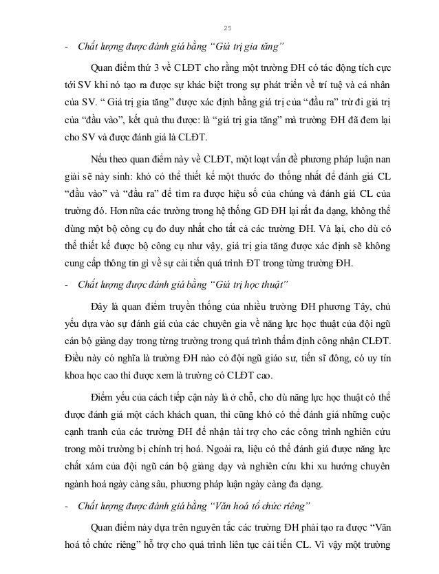 """26 được đánh giá là có CL khi nó có được """"Văn hoá tổ chức riêng"""" với nét đặc trưng quan trọng là không ngừng nâng cao CLĐT..."""