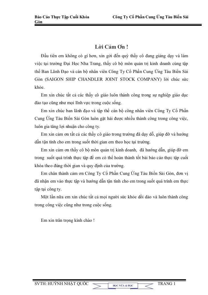 Báo Cáo Thực Tập Cuối Khóa                  Công Ty Cổ Phần Cung Ứng Tàu Biển SàiGòn                                   Lời...