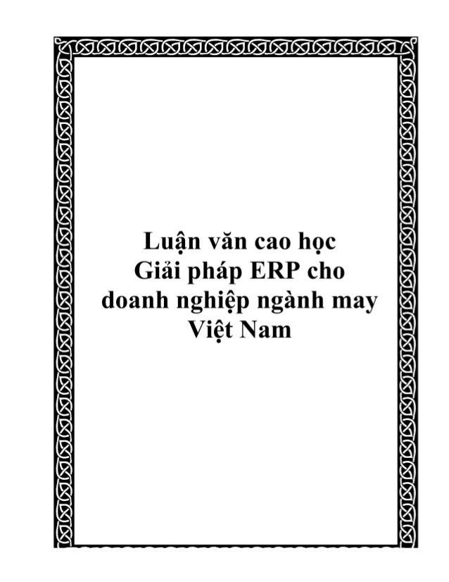 Luận Văn cao học Giải pháp ERP cho  doanh nghiệp ngành may Việt Nam