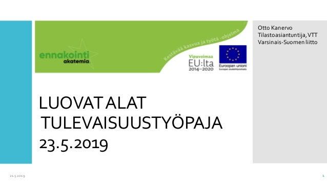 LUOVATALAT TULEVAISUUSTYÖPAJA 23.5.2019 21.5.2019 1 Otto Kanervo Tilastoasiantuntija,VTT Varsinais-Suomenliitto