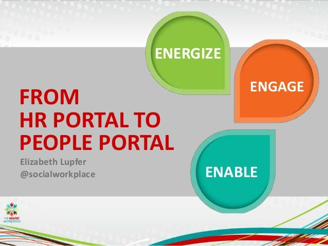 FROM HR PORTAL TO PEOPLE PORTAL ENABLE ENGAGE ENERGIZE Elizabeth Lupfer @socialworkplace