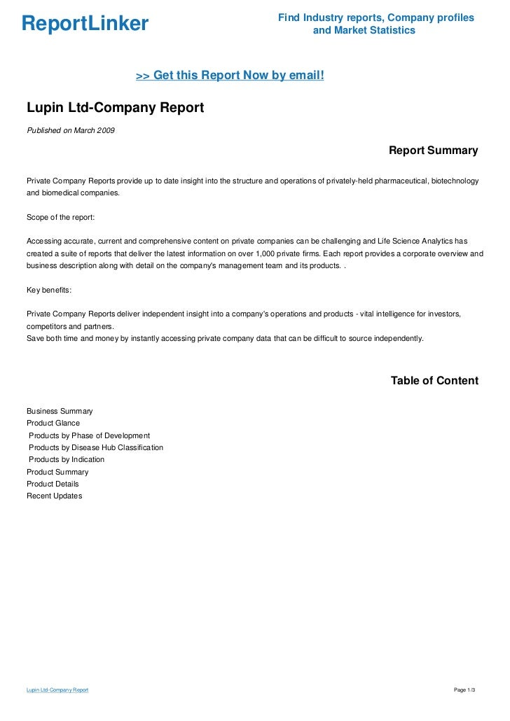 Lupin Ltd-Company Report