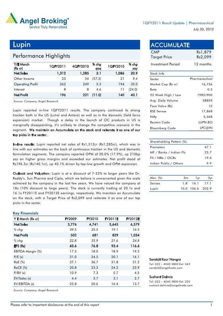 1QFY2011 Result Update | Pharmaceutical                                                                                   ...