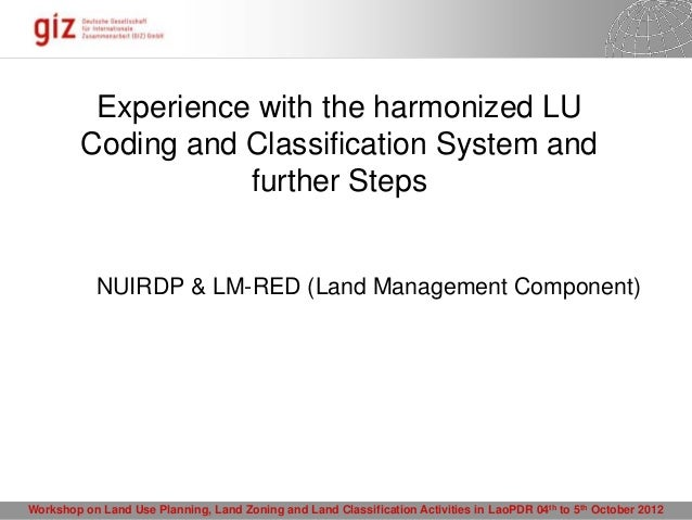 Experience with the harmonized LU         Coding and Classification System and                    further Steps           ...