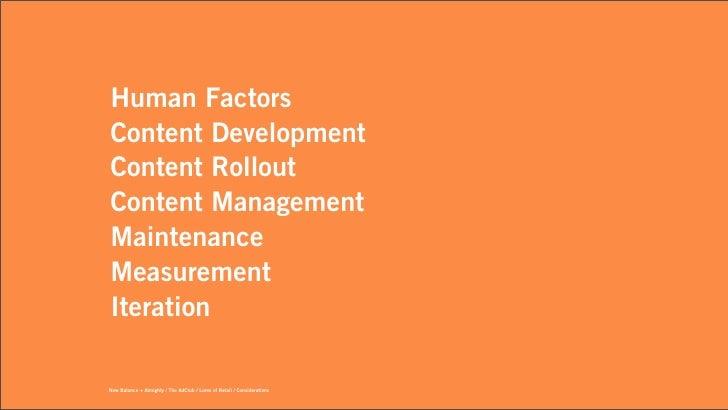 Human FactorsContent DevelopmentContent RolloutContent ManagementMaintenanceMeasurementIterationNew Balance + Almighty / T...