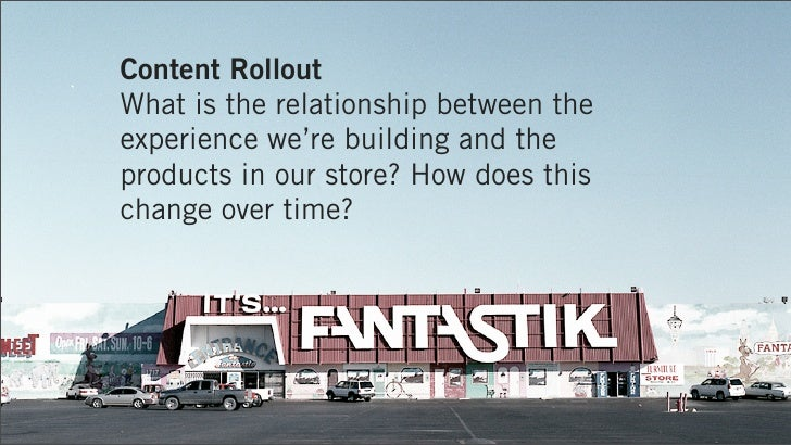 Content RolloutWhat is the relationship between theexperience we're building and theproducts in our store? How does thisch...