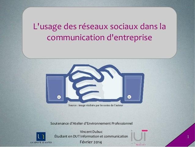 L'usage des réseaux sociaux dans la communication d'entreprise  Source:imageréaliséeparlessoinsdel'auteur  Soutena...