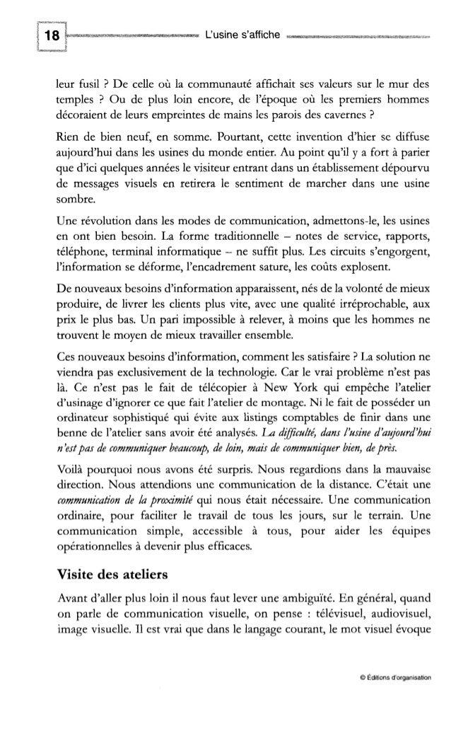 L'usine s'affiche Fig. 1-2 -Deux usines, deux modes de communication Enfin, pour comprendre la façon dont l'atelier visuel...
