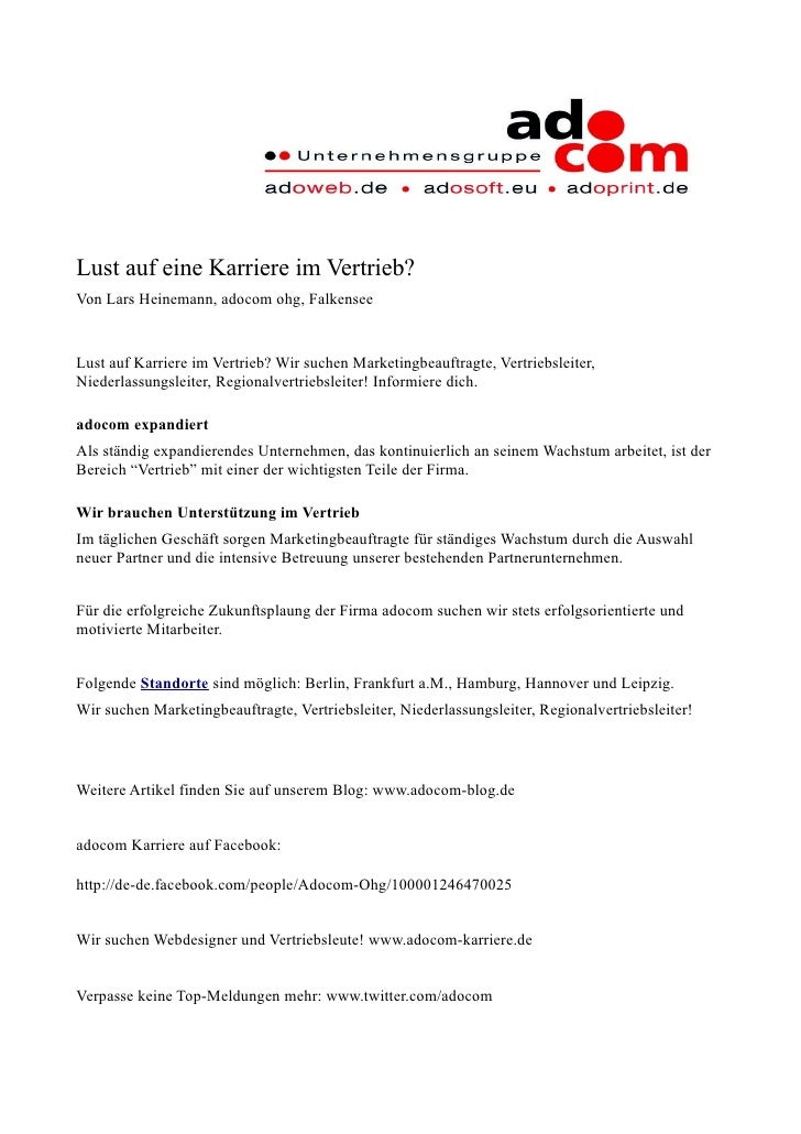 Lust auf eine Karriere im Vertrieb? Von Lars Heinemann, adocom ohg, Falkensee   Lust auf Karriere im Vertrieb? Wir suchen ...