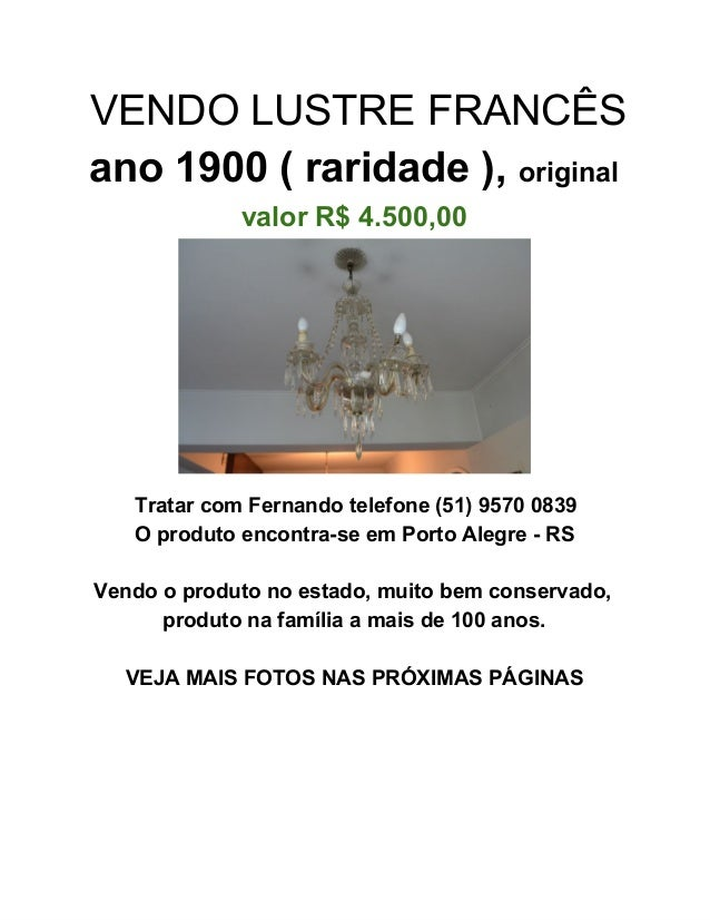 VENDOLUSTREFRANCÊS ano1900(raridade),original valorR$4.500,00  TratarcomFernandotelefone(51)95700839 Oprod...