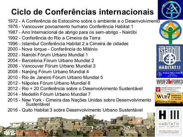 Ciclo de Conferências internacionais 1972 - A Conferência de Estocolmo sobre o ambiente e o Desenvolvimento 1976 - Vancouv...