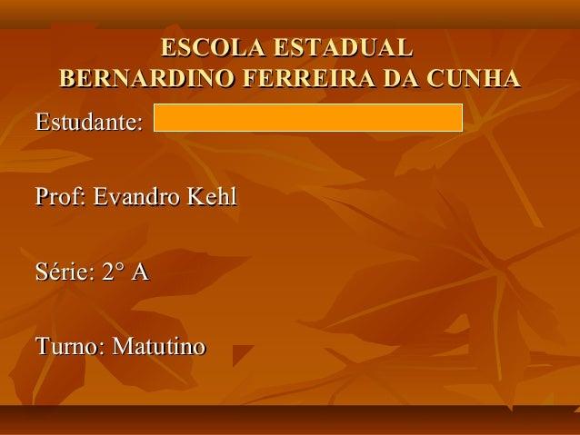ESCOLA ESTADUALESCOLA ESTADUAL BERNARDINO FERREIRA DA CUNHABERNARDINO FERREIRA DA CUNHA Estudante:Estudante: Prof: Evandro...