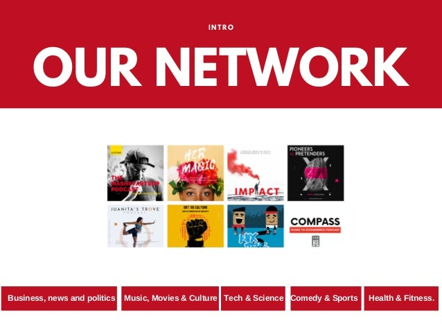 OUR NETWORK INTRO Business, news and politics Music, Movies & Culture Tech & Science Comedy & Sports Health & Fitness.