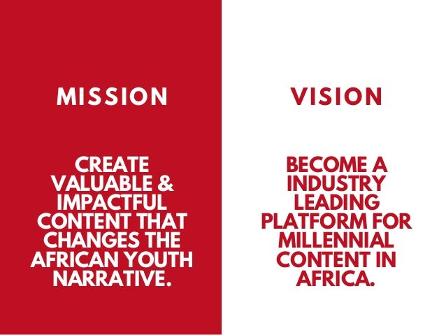 CREATE VALUABLE & IMPACTFUL CONTENT THAT CHANGES THE AFRICAN YOUTH NARRATIVE. MISSION VISION BECOME A INDUSTRY LEADING PLA...