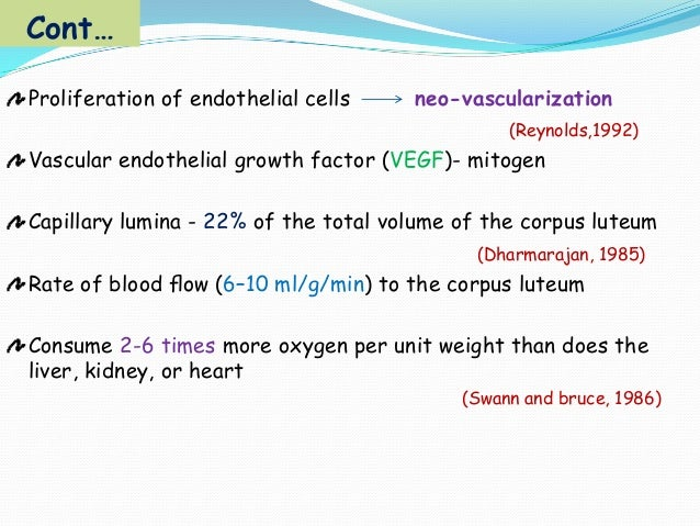 Cont… Proliferation of endothelial cells  neo-vascularization (Reynolds,1992)  Vascular endothelial growth factor (VEGF)- ...