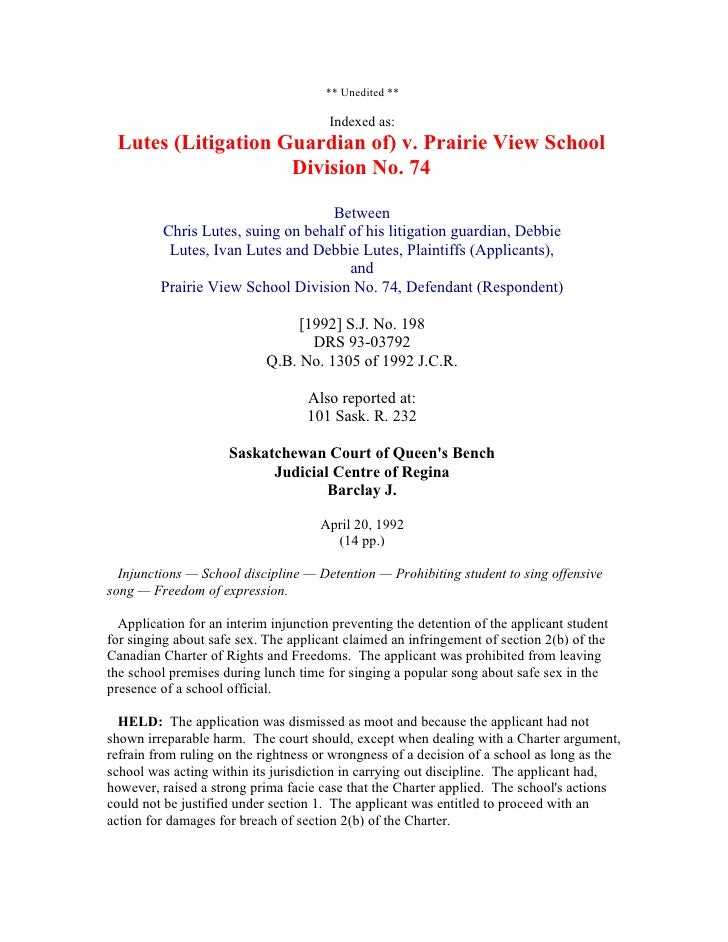 ** Unedited **                                         Indexed as:  Lutes (Litigation Guardian of) v. Prairie View School ...