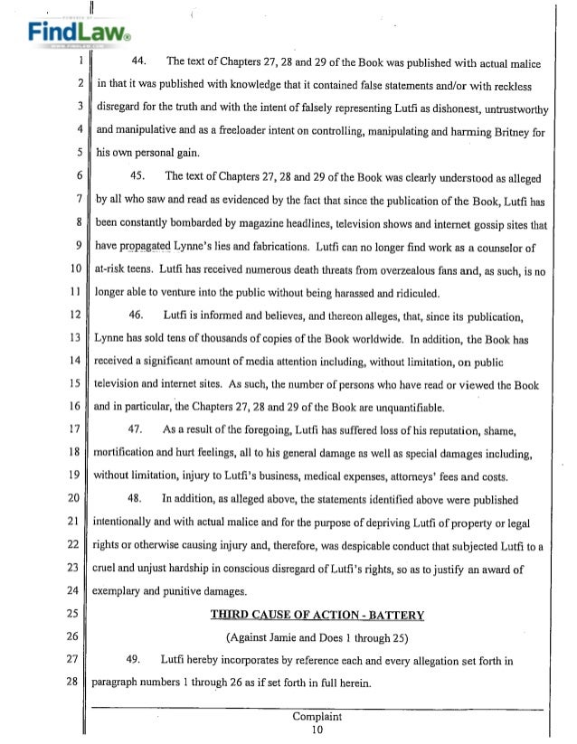 Sam LutfiS Defamation Breach Of Contract Lawsuit Against Britney Sp