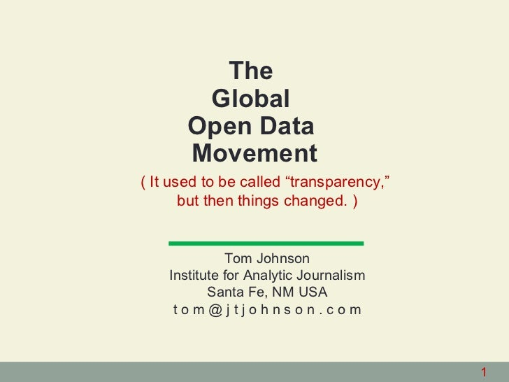 The Global Open Data Movement