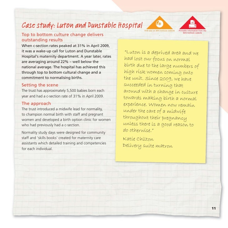 Case study: Luton and Dunstable Hospital                        DVD also on NHS Institute website   Printable information ...