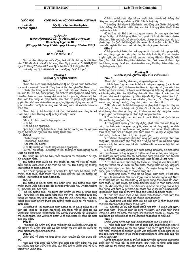 HUỲNH BÁ HỌC                                     1                       Luật Tổ chức Chính phủ                           ...
