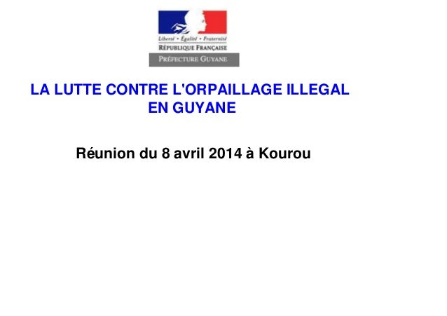 LA LUTTE CONTRE L'ORPAILLAGE ILLEGAL EN GUYANE Réunion du 8 avril 2014 à Kourou