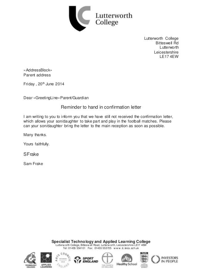 Lutterworth college letter (ict)