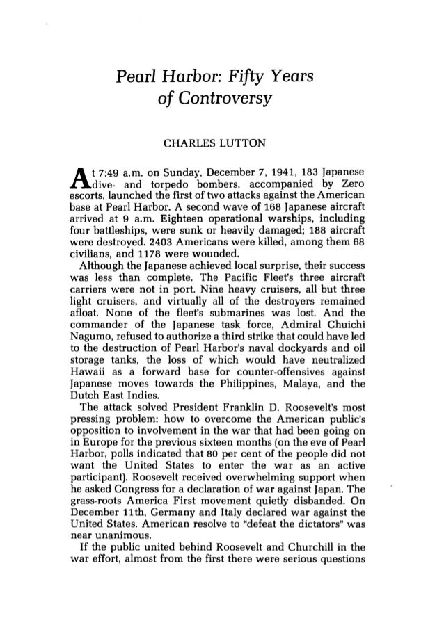lutton charles pearl harbor fifty years of controversy journal  pearl harbor fifty years of controversy charles lutton at 7 49 a m on sunday