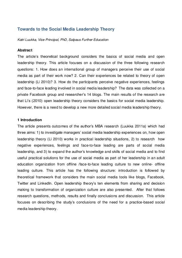Towards to the Social Media Leadership Theory Katri Luukka, Vice Principal, PhD, Salpaus Further Education Abstract The ar...
