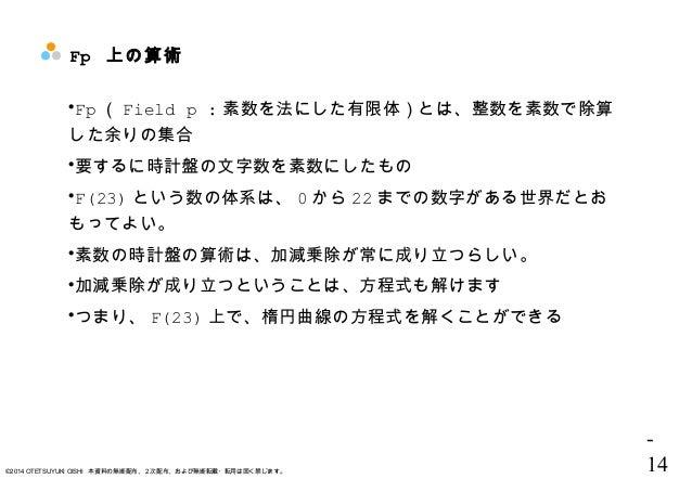 - 14©2014 OTETSUYUKI OISHI 本資料の無断配布、2次配布、および無断転載・転用は固く禁じます。 Fp 上の算術 Fp ( Field p : 素数を法にした有限体)とは、整数を素数で除算 した余りの集合 要するに時計...