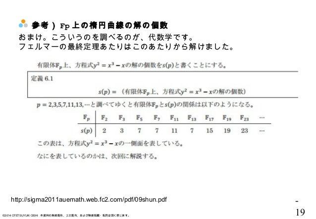 - 19©2014 OTETSUYUKI OISHI 本資料の無断配布、2次配布、および無断転載・転用は固く禁じます。 参考) Fp 上の楕円曲線の解の個数 http://sigma2011auemath.web.fc2.com/pdf/09s...