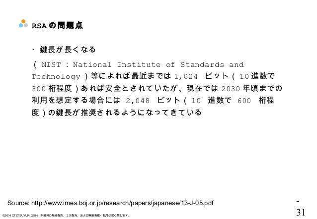 - 31©2014 OTETSUYUKI OISHI 本資料の無断配布、2次配布、および無断転載・転用は固く禁じます。 RSA の問題点 ・鍵長が長くなる ( NIST : National Institute of Standards and...