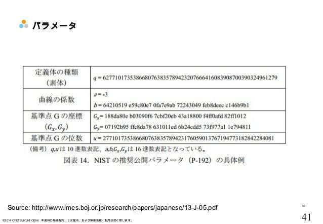 - 41©2014 OTETSUYUKI OISHI 本資料の無断配布、2次配布、および無断転載・転用は固く禁じます。 パラメータ Source: http://www.imes.boj.or.jp/research/papers/japane...
