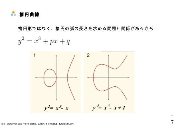 - 7©2014 OTETSUYUKI OISHI 本資料の無断配布、2次配布、および無断転載・転用は固く禁じます。 楕円曲線 楕円形ではなく、楕円の弧の長さを求める問題と関係があるから