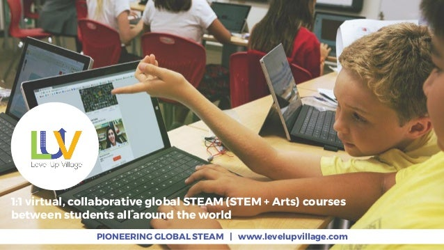 PIONEERING GLOBAL STEAM | www.levelupvillage.com 1:1 virtual, collaborative global STEAM (STEM + Arts) courses between stu...