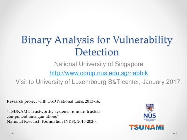 Binary Analysis for Vulnerability Detection National University of Singapore http://www.comp.nus.edu.sg/~abhik Visit to Un...