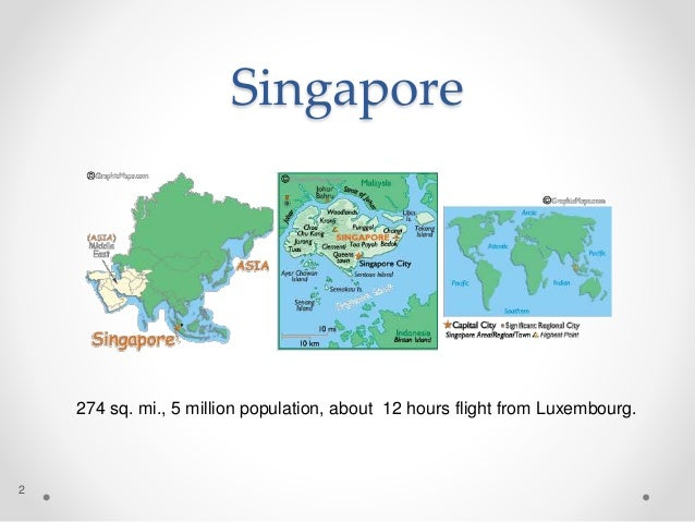 Singapore 2 274 sq. mi., 5 million population, about 12 hours flight from Luxembourg.