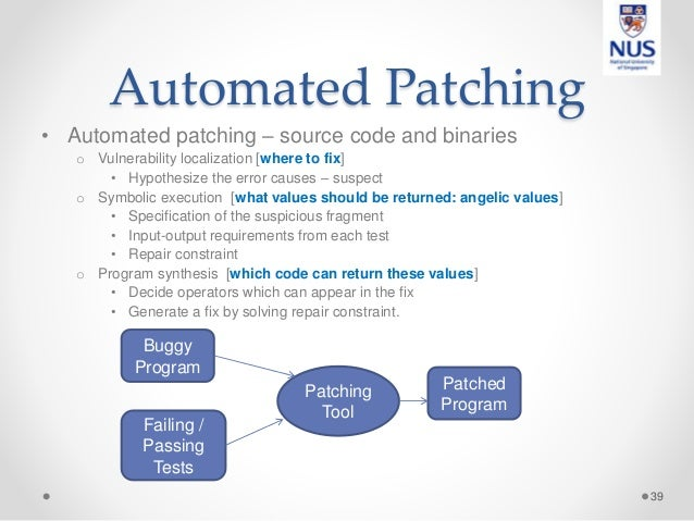 Automated Patching • Automated patching – source code and binaries o Vulnerability localization [where to fix] • Hypothesi...