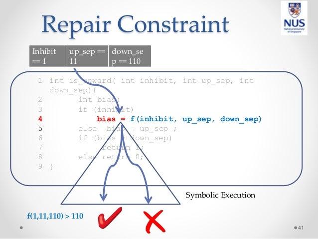 Repair Constraint 41 1 int is_upward( int inhibit, int up_sep, int down_sep){ 2 int bias; 3 if (inhibit) 4 bias = f(inhibi...