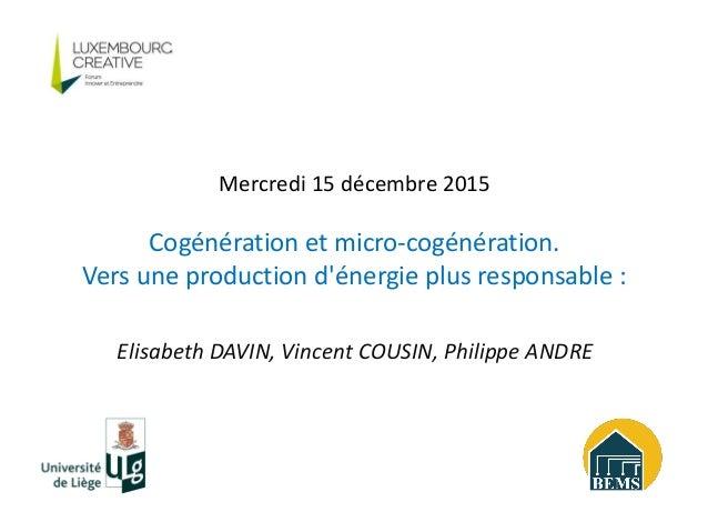 Elisabeth DAVIN, Vincent COUSIN, Philippe ANDRE Mercredi 15 décembre 2015 Cogénération et micro-cogénération. Vers une pro...