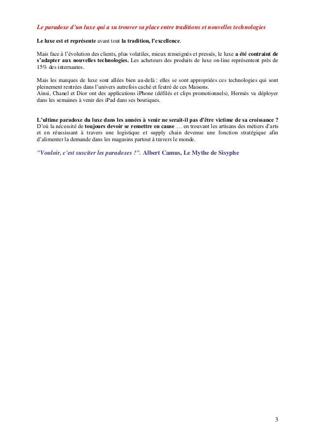 Luxe et Paradoxes   Isabelle Butin pour Sup de Luxe Slide 3