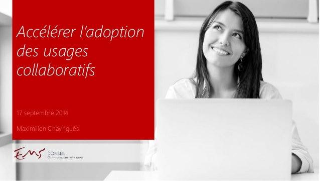 17 septembre 2014  Maximilien Chayriguès  Accélérer l'adoption des usages collaboratifs