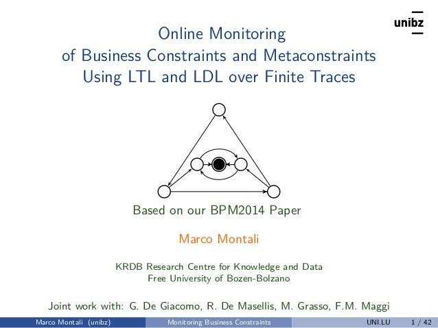 Online Monitoring of Business Constraints and Metaconstraints Using LTL and LDL over Finite Traces Based on our BPM2014 Pa...