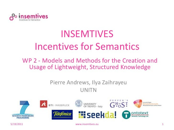 5/17/2011<br />www.insemtives.eu<br />1<br />INSEMTIVESIncentives for Semantics<br />WP 2 - Models and Methods for the Cre...