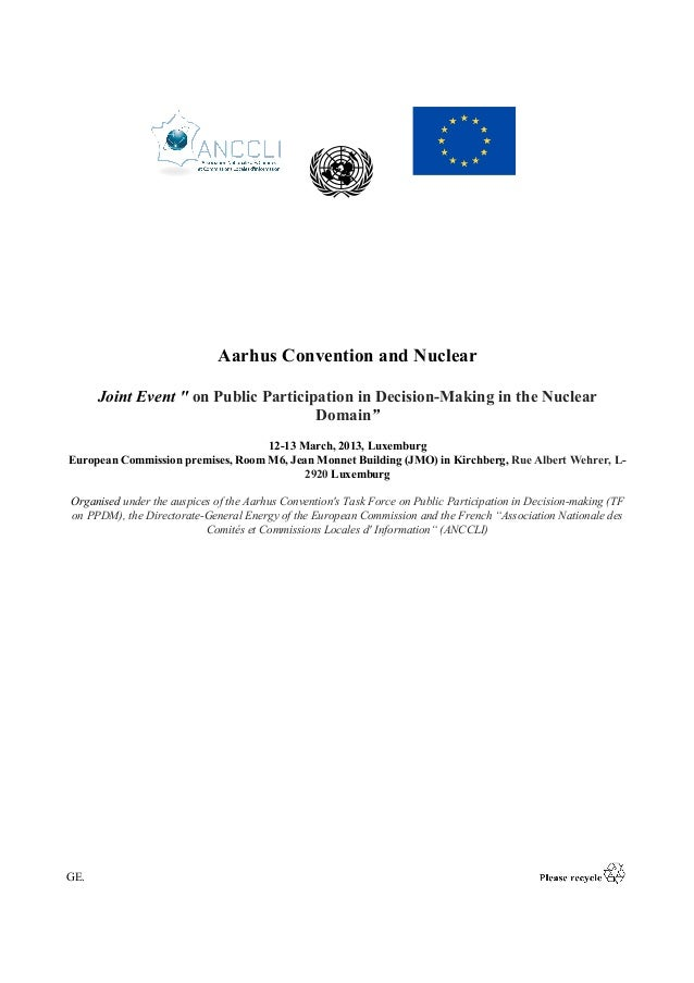 """GE. Aarhus Convention and Nuclear Joint Event """" on Public Participation in Decision-Making in the Nuclear Domain"""" 12-13 Ma..."""
