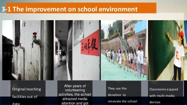 3-1 The improvement on school environment They use the donation to renovate the school After years of volunteering activit...
